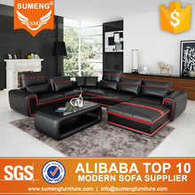 SUMENG new arrival U-shaped leather corner lounge suite