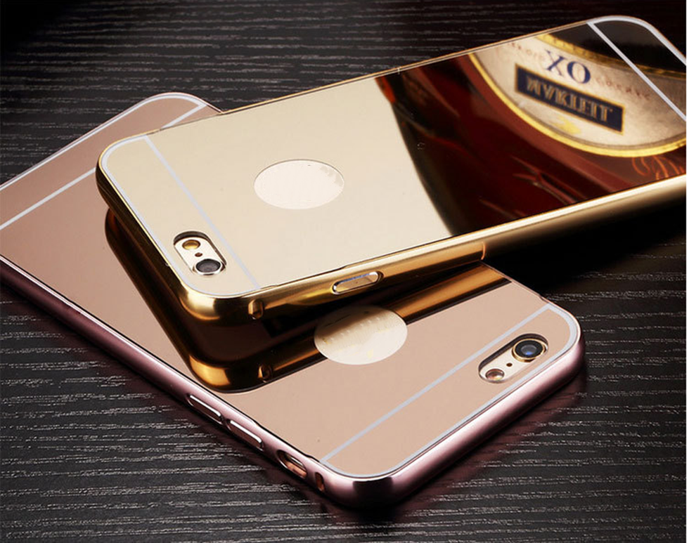 Shenzhen mobile phone accessories fashion aluminum bumper mirror cover case for iphone5/6/6plus for samsung s7 edge