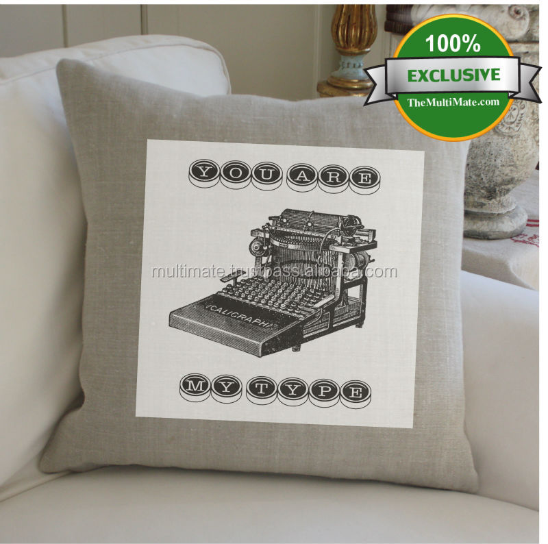 vintage old typewriter design cotton linen printed cushion covers