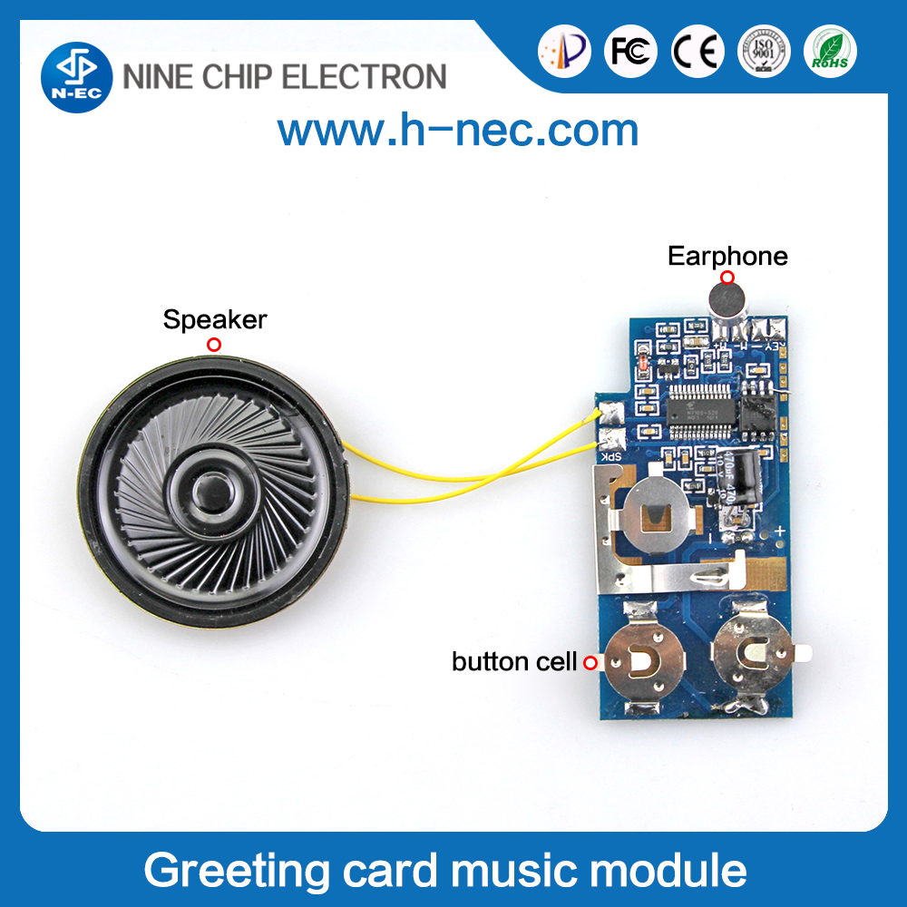 Music speaker voice recorder chip sound module for greeting card