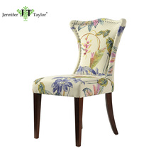 Royal high quanlity home furniture wooden high back fabric nailhead dining chair