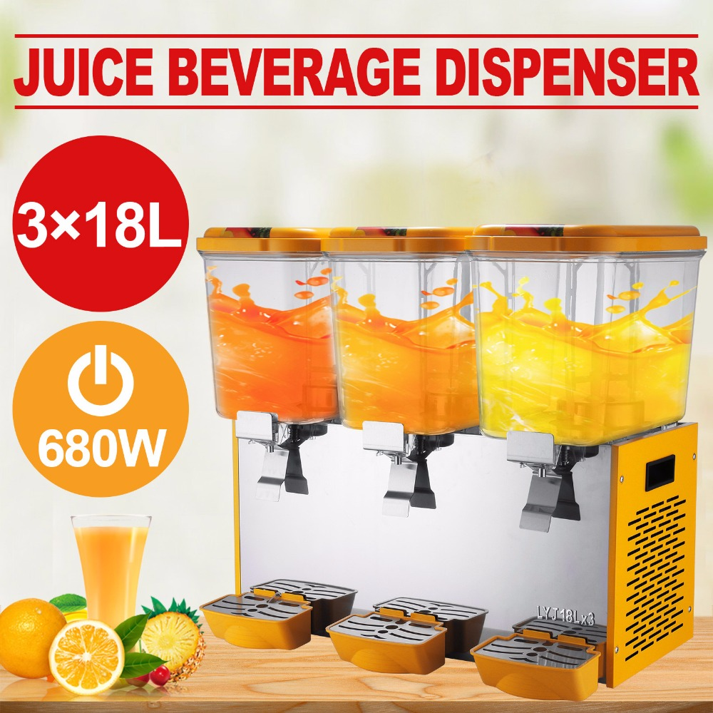 Juice Dispenser Commercial Beverage Dispenser with Spigot Triple Tank Stainless Steel Restaurant Buffet Food Service Catering