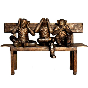 Best design cast life size bronze realistic monkey sitting on bench sculpture for sale