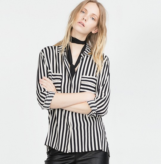 2016 Wholesale Spring Ladies Striped Chiffon Shirt