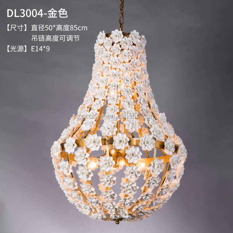 factory direct indoor lighting gold leaf color ceramic vintage chandeliers & pendant lights