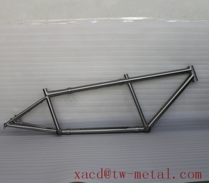 Ti mtb tandem bicycle frame with coupler XACD made ti tandem bike frame with water drop tube Custom titan bike frame