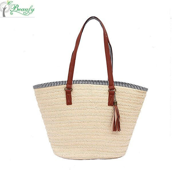 Cotton lining PU Leather Handle straw beach handbag shoulder bag tote