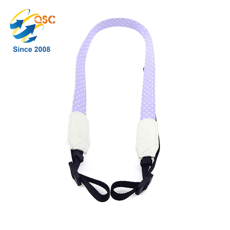 Wholesale Canvas Camera Straps Belt with Cute Purple White Black Design for DSLR Digital Mini Sport Camera