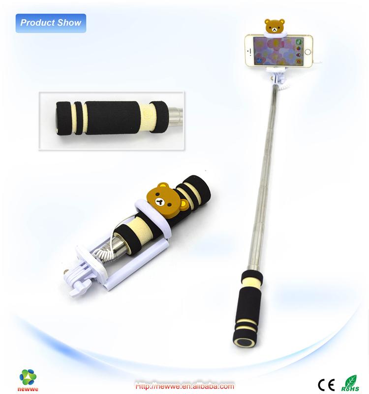 mini selfie stick withshutter button custom handheld monopod stick with black telescopic handle. Black Bedroom Furniture Sets. Home Design Ideas