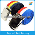 Beyond Men's Striped Adjustable Army Polyester Canvas Belt with Slider Buckle