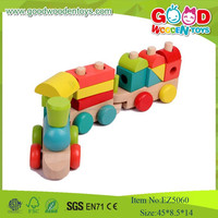 Cheap And High Quality Wooden Train Set Toys For Kids ,Colorful Stack Block Train Toy