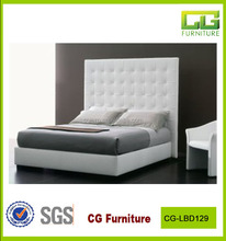 Bedroom Furniture White High Headboard BUttons PU Leather Bed