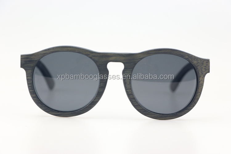 classic circle matt black laser engraving uv400 polarized bamboo sunglasses