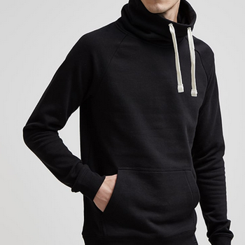 Mens wholesale polo neck plain black cheap hoodies