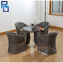 Cheap Home Furniture Glass Top Rattan Table And Chairs