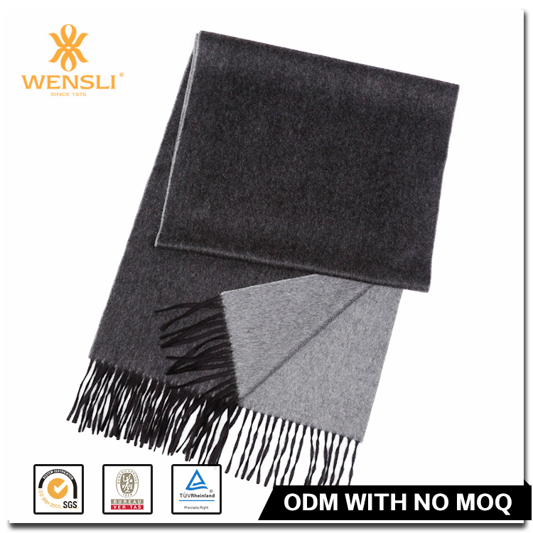 Chinese Wensli Couple 100 Silk Brushed Scarves Black and Grey Long Cape Wool Shawl