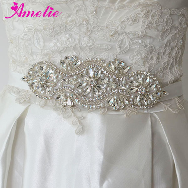 2016 New Hand Sewed Small Beaded Wedding Dress Bride Belt Sashes