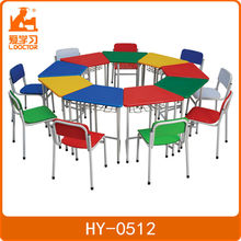 Colorful Nursery School Furniture, Cheap School Desks And Chairs Set For 9 Kids, Used School Desk Chair