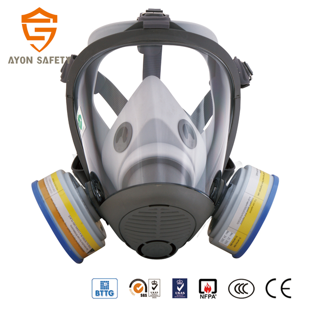 Black Conical High Quality Gas Supplying Device Full Face Anti Air Mask