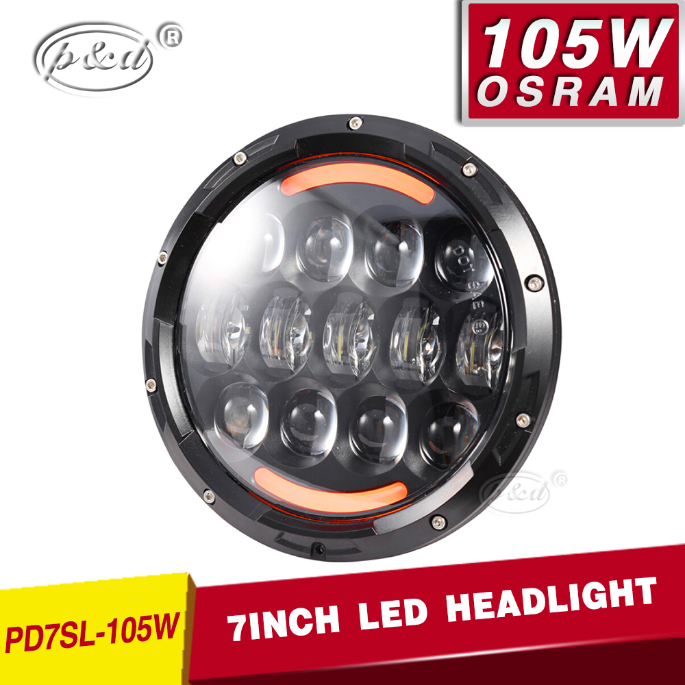 7 inch 105W round led headlight with daytime running light