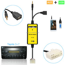 Car Didital Music Changer USB AUX MP3 Adapter USB/AUX MP3 Player Radio Car Digital Music Cd Changer Aux Adapter For Toyota (5+7)