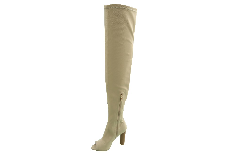 open toe block high heel long over the knee high boots