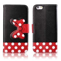 Lovely Bow Bowknot Wallet PU Leather Case for iphone 6 plus