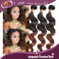 Factory price Ombre color black &burgundy body wave no chemical hair Chocolate Human Hair Extension Famous Brand
