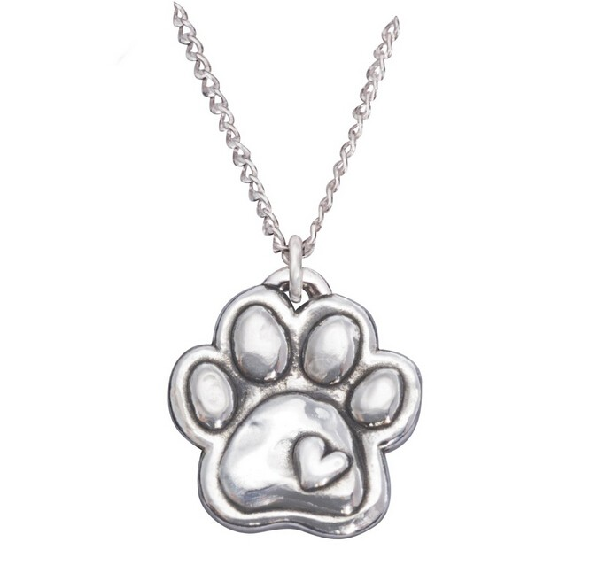 925 Sterling silver I LOVE DOG paw necklace pendant