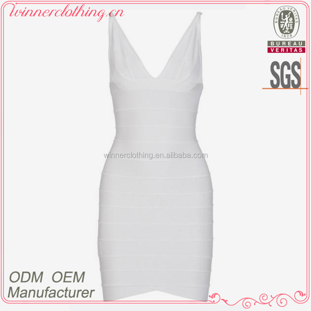 Women hot sale dress picture factory white v-neck sexy bodycon bandage dress charming prom dress for women