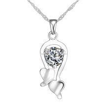 Fancy design crystal studded dual heart pendant women silver 925 necklace wholesale
