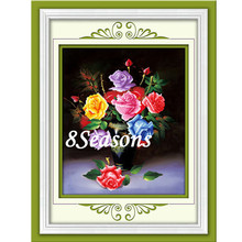 Wholesale Handmade Multicolor Flower Pattern Cross Stitch Chart Embroidery