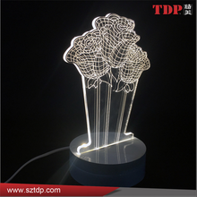 decorative clear acrylic rose shaped 3d led lamp night light for bedside
