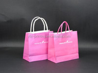 customzied logo with scew paper handle pink paper bag