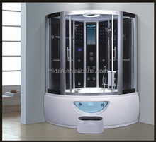 Blue glass steam room bathtub shower combo with sliding door AT-0212