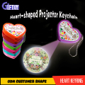 led heart shape projector keychain with crystal stickers heart shape led keychain