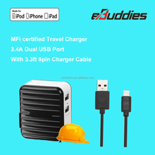 OEM/ODM Mobile mfi travel charger with dual USB for iPhone 6 5 / Lenovo / Samsung and more