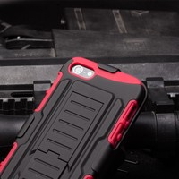IN STOCK!Future Armor Impact Skin Holster Protector Case cover For iPhone5 5S Cell Phone Case(Black/Red)