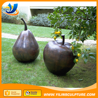 outdoor decoration bronze fruit apple and pear statue