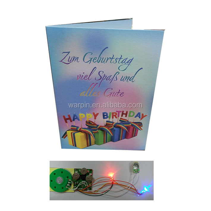 Handwork Paper Music Device Inserts Voice Recordable Greeting Card