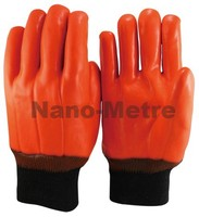 NMSAFETY water and oil proof orange fluorescent safety pvc glove 3 layers liner oil gloves
