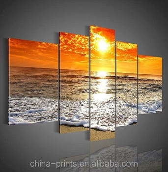 Famous Fabric Group Sunset Painting of 5 panels