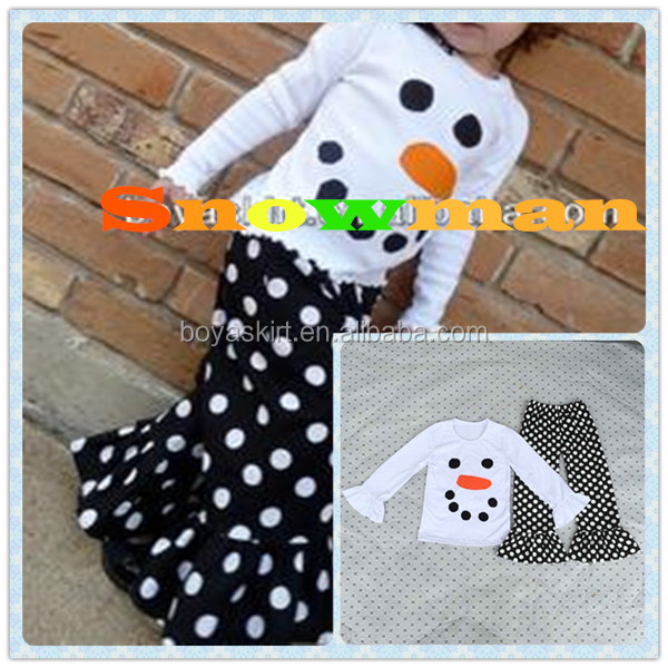 2015 Autumn Winter Baby Girls Christmas Gift Snowman T-shirt Pants Suit Infant Toddler Children's Clothes Suit Kids Outfits Set