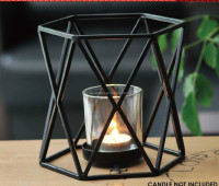 metal with 1 clear glass cup tea light candle holder