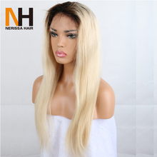 Tuneful Hair Brazilian Human Hair Silky Straight Lace Front Wig Ombre 613 Platinum Honey Blonde