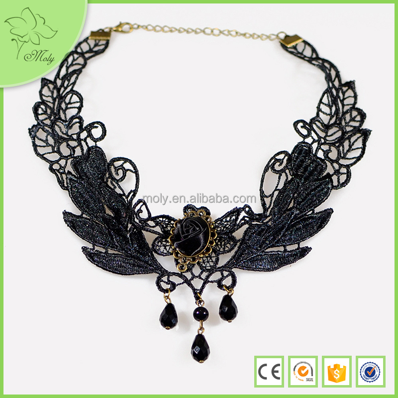 Black Crystal Newest Floating Crystal Lace Chocker Necklace for Women