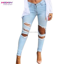New Collection Factory Outlet Light Blue Jeans Wholesale China