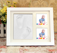 New Safety&funny Wood Baby Prints Photo Frame with Ink Pad