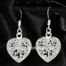 Sheeny heart dangle silver plated pierced earrings