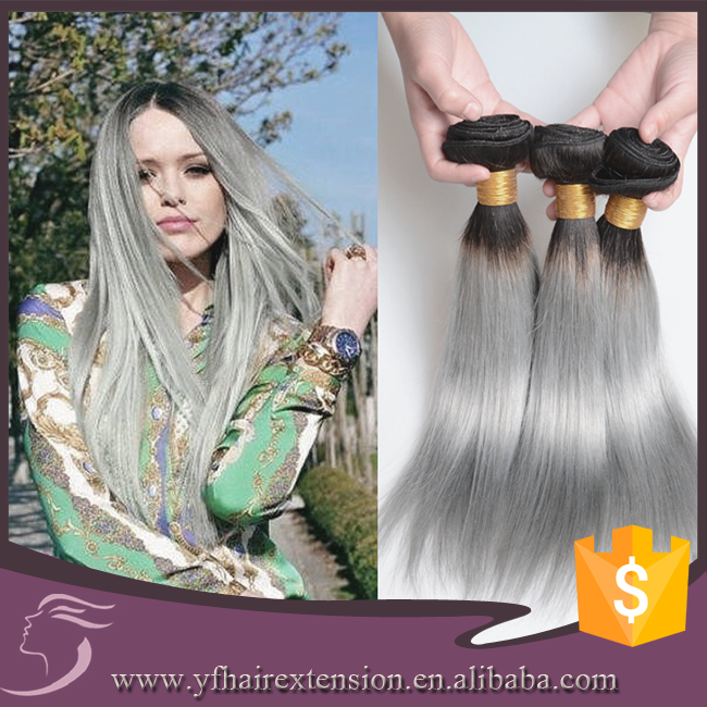Factory Price Silver Grey Ombre Bundles 100% Remy Human Hair Extension #1b Grey